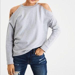 Gray Cold Shoulder Sweatshirt